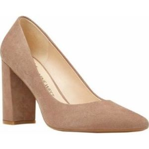 Nine West Astoria nude block heel pumps